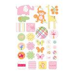 Deja Views - C-Thru - Little Yellow Bicycle - Baby Safari Girl Collection - Glitter Epoxy Stickers