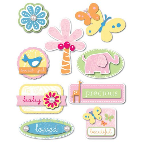 Deja Views - C-Thru - Little Yellow Bicycle - Baby Safari Girl Collection - Glitter Dimensional Stickers