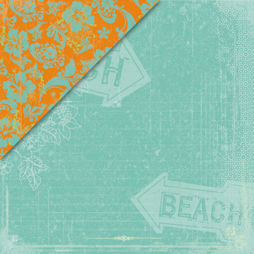 Deja Views - C-Thru - Little Yellow Bicycle - Boardwalk Collection - 12 x 12 Double Sided Paper - South Beach, CLEARANCE
