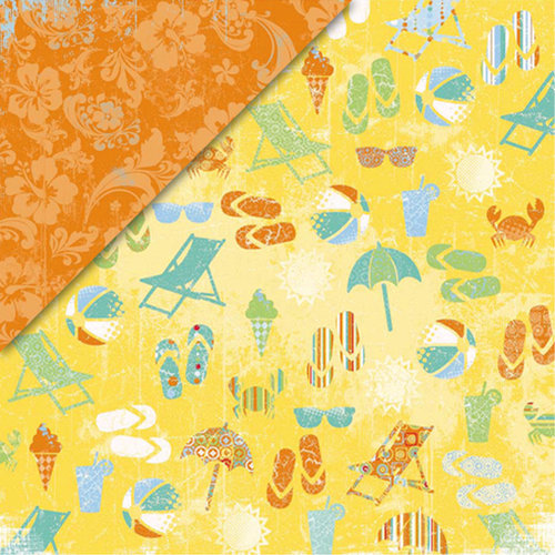 Deja Views - C-Thru - Little Yellow Bicycle - Boardwalk Collection - 12 x 12 Double Sided Paper - Fun in the Sun, CLEARANCE