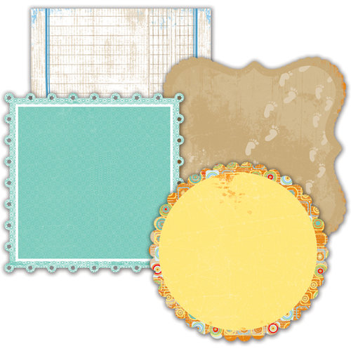 Deja Views - C-Thru - Little Yellow Bicycle - Boardwalk Collection - Double Sided Decorative Edge Cardstock Pack with Glitter Accents - 6 x 6, CLEARANCE