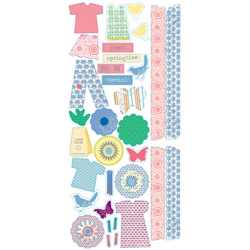 Deja Views - C-Thru - Little Yellow Bicycle - Clothesline Collection - Clear Stickers - Shapes, CLEARANCE