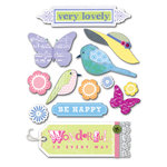 Deja Views - C-Thru - Little Yellow Bicycle - Elizabeth Park Collection - Fabric Stickers with Jewel and Lace Accents - Favorites