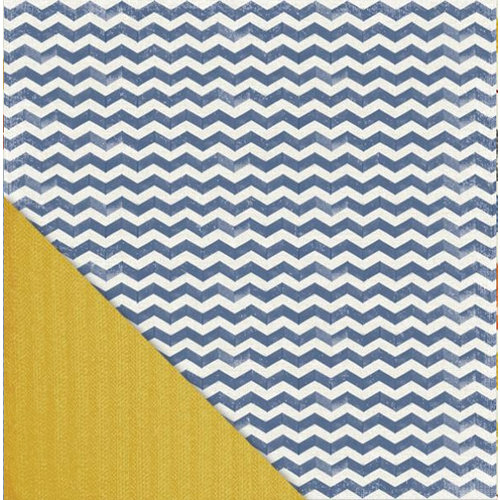 Little Yellow Bicycle - Feels Like Home Collection - 12 x 12 Double Sided Paper - Denim Chevron