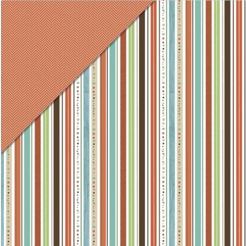 Little Yellow Bicycle - Fern and Forest Boy Collection - 12 x 12 Double Sided Paper - Forest Stripe