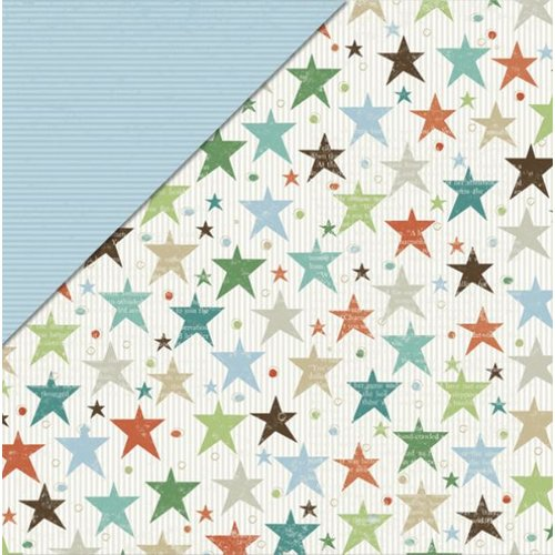 Little Yellow Bicycle - Fern and Forest Boy Collection - 12 x 12 Double Sided Paper - Super Stars
