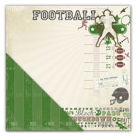 Deja Views - C-Thru - Little Yellow Bicycle - Get Your Game One Collection - 12 x 12 Double Sided Textured Paper - Football Collage