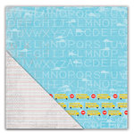 Deja Views - C-Thru - Little Yellow Bicycle - Head of the Class Collection - 12 x 12 Double Sided Textured Paper - Bus Stop