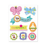 Deja Views - C-Thru - Little Yellow Bicycle - Hello Spring Collection - Dimensional Stickers with Glitter Accents
