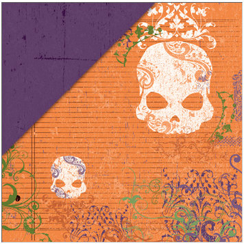 Deja Views - C-Thru - Little Yellow Bicycle - Frightful Collection - Halloween - 12 x 12 Double Sided Paper - Skull Ledger, CLEARANCE