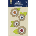 Little Yellow Bicycle - Naturals Collection - Burlap Stickers with Button Accents - Dahlia