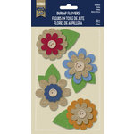 Little Yellow Bicycle - Naturals Collection - Burlap Stickers with Button Accents - Zinnia