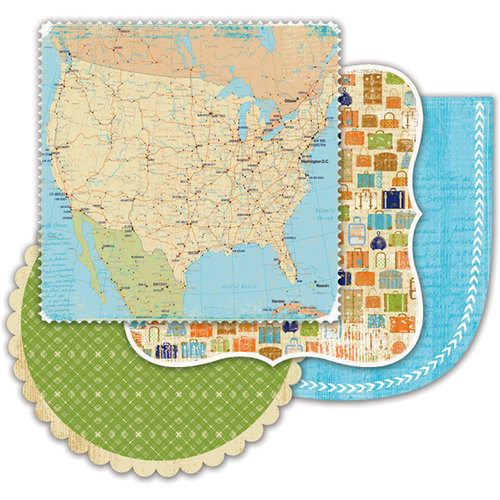 Deja Views - C Thru - Little Yellow Bicycle - Pack Your Bags Collection - Double Sided Decorative Edge Cardstock Pack with Varnish Accents - 6 x 6, CLEARANCE
