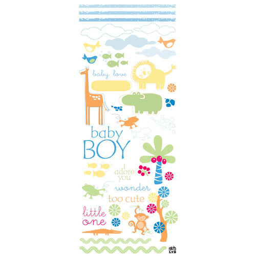 Deja Views - C-Thru - Little Yellow Bicycle - Baby Safari Boy Collection - Glitter Rub Ons