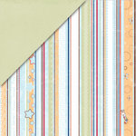 Deja Views - C-Thru - Little Yellow Bicycle - Snugglebug Collection - 12 x 12 Double Sided Paper - Boy Stripe