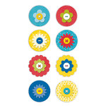 Deja Views - C-Thru - Little Yellow Bicycle - Sweet Summertime Collection - Flower Button Dots