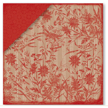 Deja Views - Timeless Collection - 12x12 Double Sided Paper - Red Burlap Flower