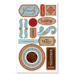 Deja Views - Timeless Collection - Self-Adhesive Chipboard Embellishments - Family