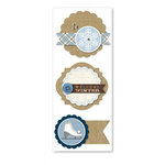 Little Yellow Bicycle - Winterings Collection - Layered Burlap Stickers with Gem Accents