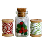 Deja Views - C-Thru - Little Yellow Bicycle - Wonder Wishes Collection - Christmas - Mini Pom Poms and Twine Spools