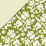 Deja Views - C-Thru - Little Yellow Bicycle - Zinnia Collection - 12 x 12 Double Sided Paper - Green Floral