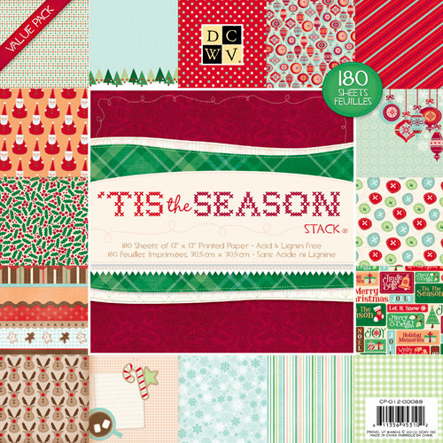 die cuts with a view the 39 tis the season collection christmas paper stack 12 x 12. Black Bedroom Furniture Sets. Home Design Ideas