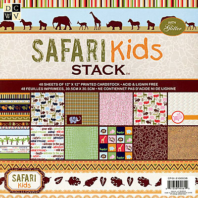 Die Cuts with a View - Safari Kids Collection - Glitter Paper Stack - 12 x 12, CLEARANCE