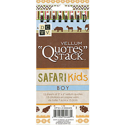 Die Cuts with a View - Safari Kids Collection - Vellum Quote Stack - Boy, CLEARANCE