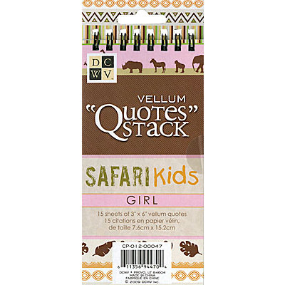 Die Cuts with a View - Safari Kids Collection - Vellum Quote Stack - Girl