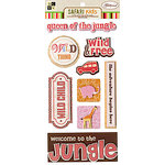 Die Cuts with a View - Safari Kids Collection - 3 Dimensional Stickers with Glitter Accents - Girl Sayings