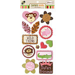 Die Cuts with a View - Safari Kids Collection - 3 Dimensional Stickers with Glitter Accents - Animals, CLEARANCE