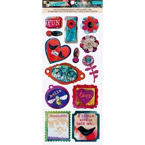 Die Cuts with a View - The Colorful Life Collection - 3 Dimensional Chipboard Stickers with Glitter Accents - Icons