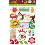 Die Cuts with a View - Animal Crackers Collection - 3 Dimensional Cardstock Stickers with Glitter and Felt Accents - Icons