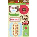 Die Cuts with a View - Animal Crackers Collection - 3 Dimensional Cardstock Stickers with Glitter Accents - Words