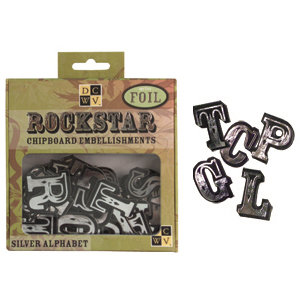 Die Cuts with a View - Rock Star Collection - Chipboard Box - Alphabet, CLEARANCE