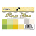 Die Cuts with a View - Lemon Flower Collection - 4.5 x 6.5 Metallic Glitter and Textured Solid Cardstock Matstack