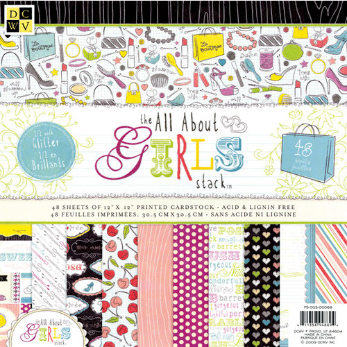 Die Cuts with a View - The All About Girls Collection - Glitter Paper Stack - 12 x 12