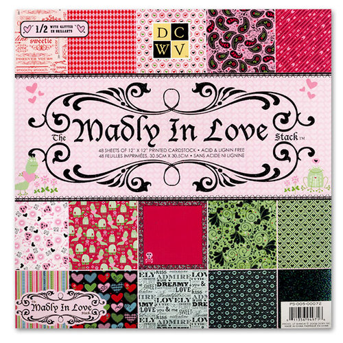 Die Cuts with a View - Madly in Love Collection - Glitter Paper Stack - 12 x 12