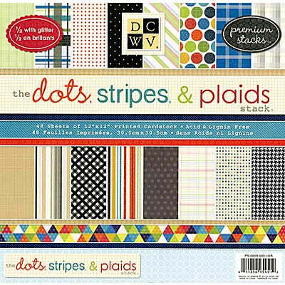 Die Cuts with a View - The Dots Stripes and Plaids Collection - Glitter Paper Stack - 12 x 12