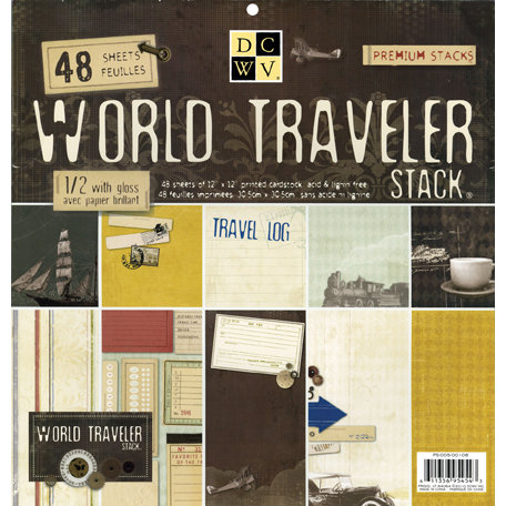Die Cuts with a View - World Traveler Collection - Gloss Paper Stack - 12 x 12