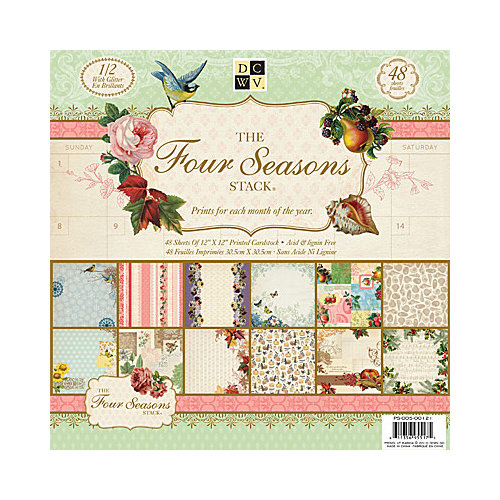 Die Cuts with a View - Four Seasons Collection - Glitter Paper Stack - 12 x 12