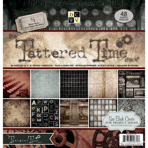 Die Cuts with a View - Tattered Time Collection - Gloss Paper Stack - 12 x 12