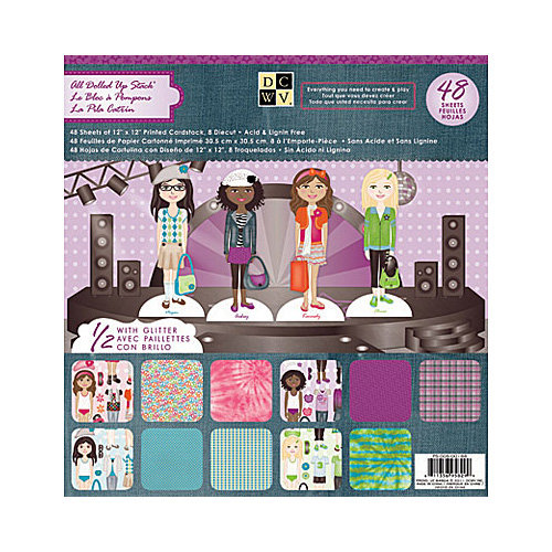Die Cuts with a View - All Dolled Up Collection - Glitter Paper Stack - 12 x 12
