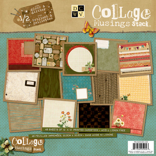 Die Cuts with a View - The Collage Musings Collection - Glitter and Gloss Paper Stack - 12 x 12