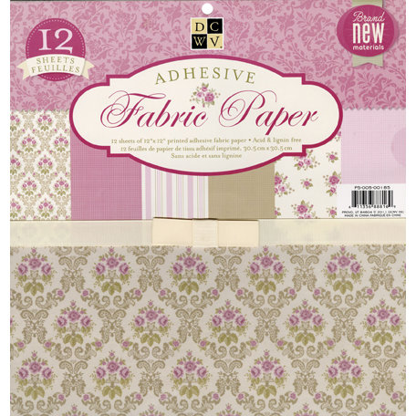 Die Cuts with a View - Adhesive Fabric Paper Stack - Pink Floral - 12 x 12