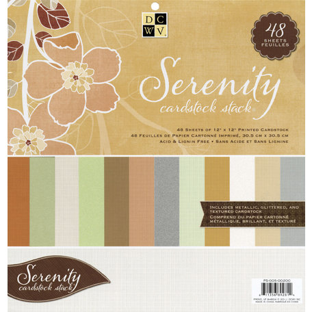 Die Cuts with a View - Serenity Collection - Glitter Metallic and Textured Solid Cardstock Stack - 12 x 12