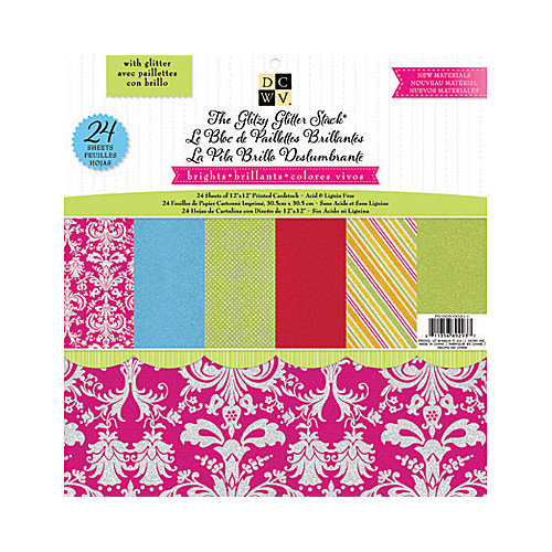 Die Cuts with a View - Glitzy Glitter Collection - Glitter Paper Stack - 12 x 12 - Brights