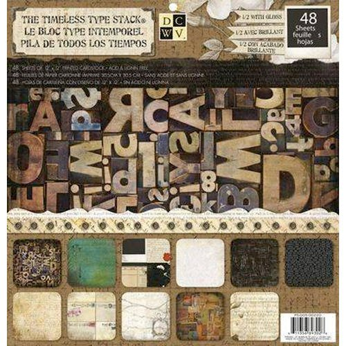 Die Cuts with a View - Timeless Type Collection - Gloss Paper Stack - 12 x 12