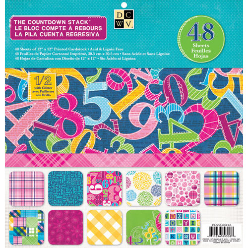 Die Cuts with a View - Countdown Collection - Glitter Paper Stack - 12 x 12