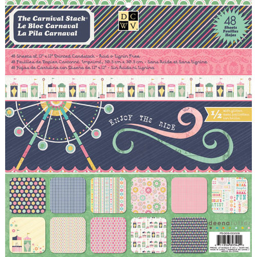Die Cuts with a View - Carnival Collection - Glitter Paper Stack - 12 x 12